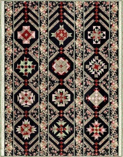 Bordered Rows BOM Quilt - Black - Queen or King!