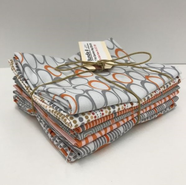 Bundle - 207 - Gray and Orange - 7 Fat Quarters
