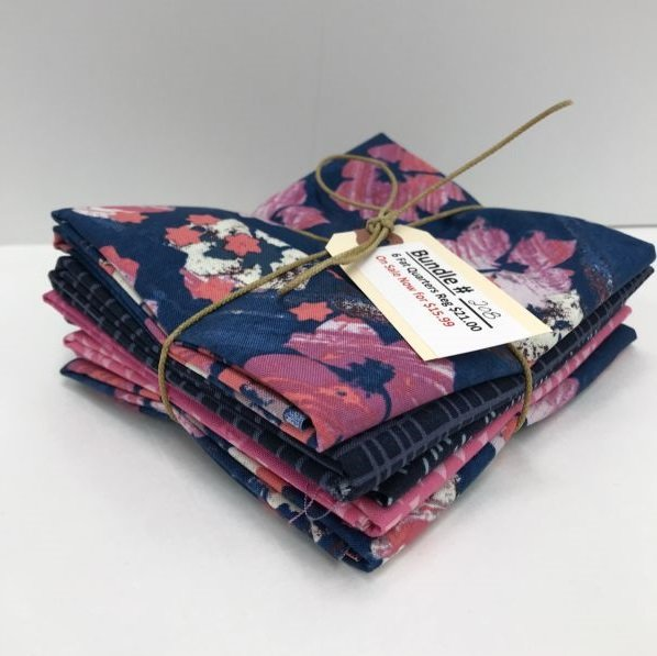 Bundle - 208 - Pink and Navy - 6 Fat Quarters