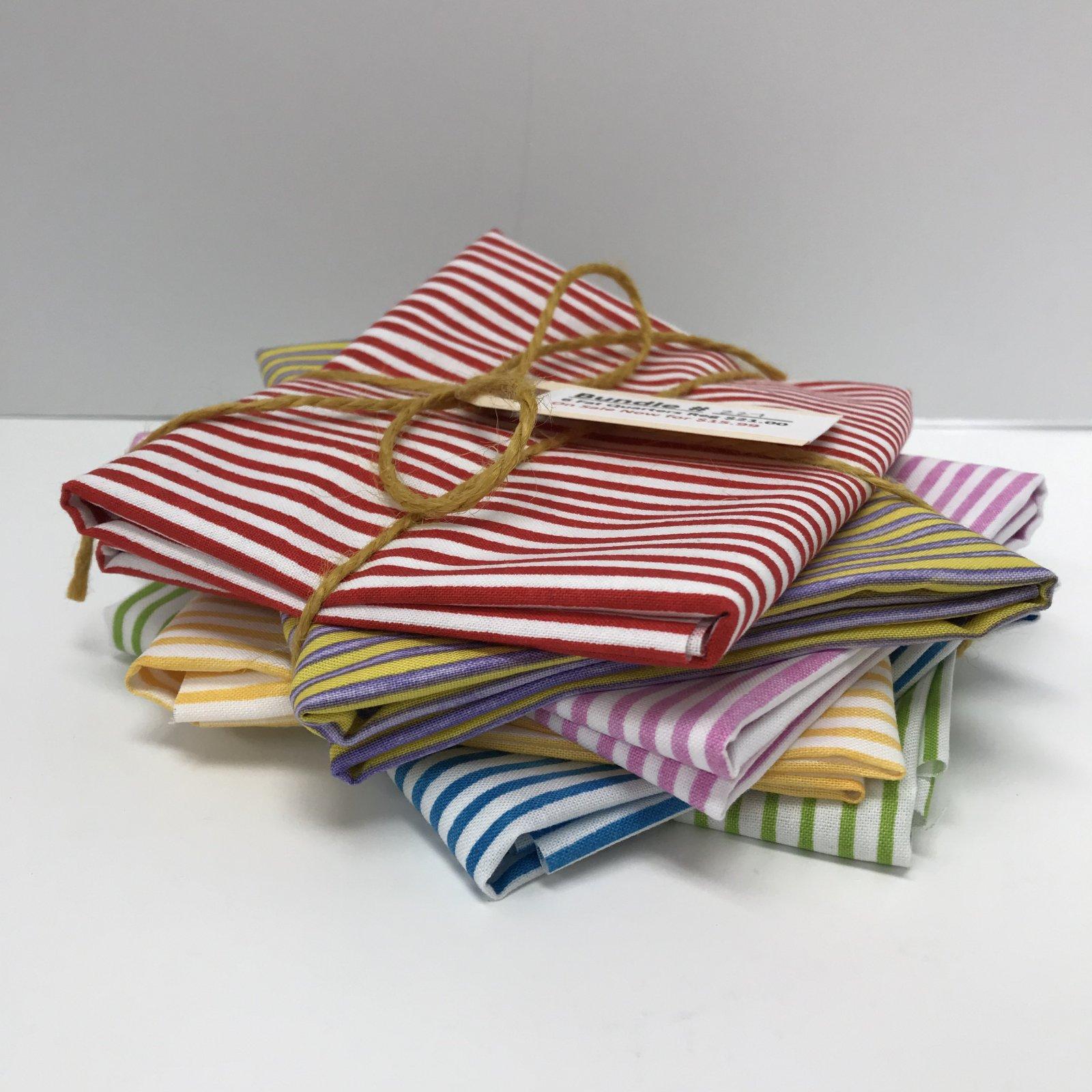 Bundle - 227 - Stripes - 6 Fat Quarters - 1/8 inch stripes