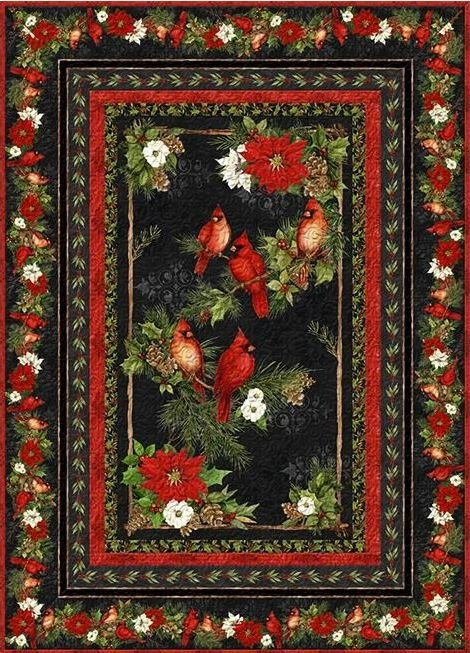 Susan Winget  - Cardinal Noel ~ Small Throw/Wall Quilt KIT!