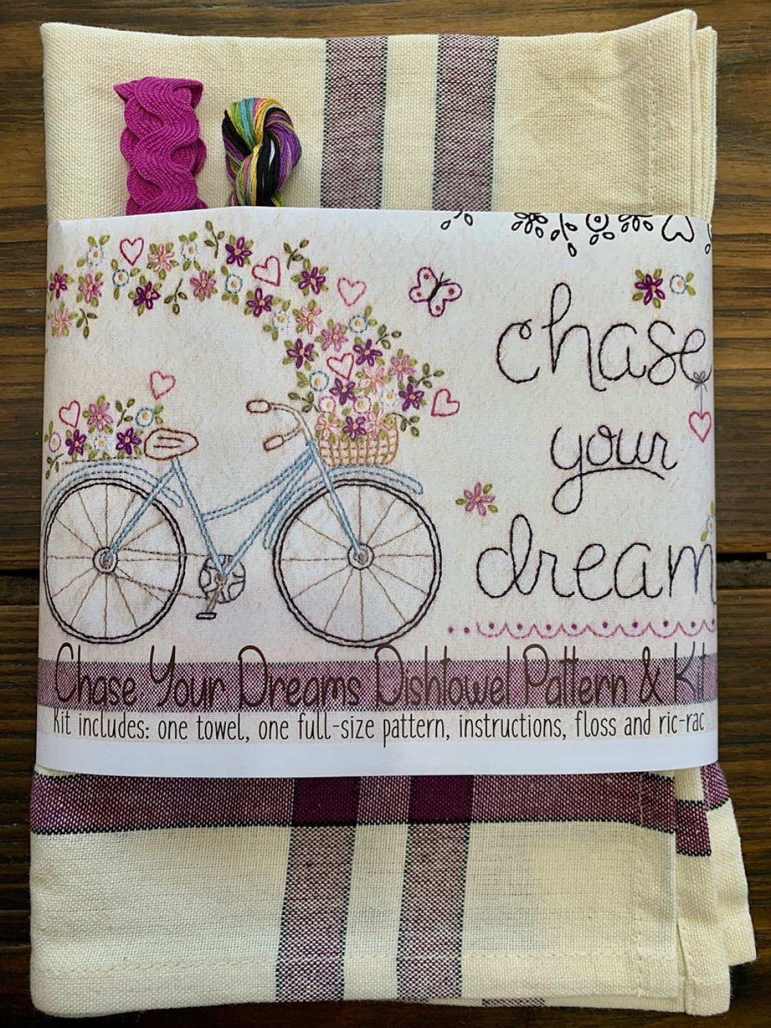 Bareroots - Dishtowel Pattern and Floss Kit - Chase Your Dreams - BR265K
