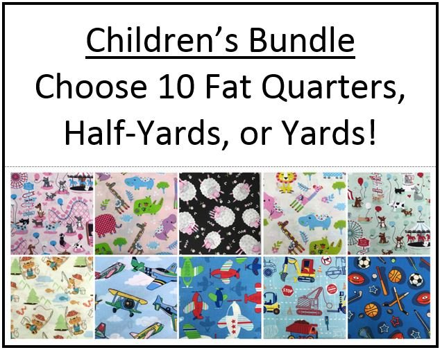 Bundle #3 ~  Children's ~ 10 Novelty Children's Fabrics!