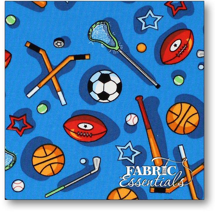 Choice Fabrics - Children's Novelty - BD-49211-A01 - Sporting Equipment on Blue