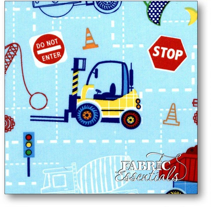 Choice Fabrics - Children's Novelty - BD-49214-A01 - Construction Equipment on Blue