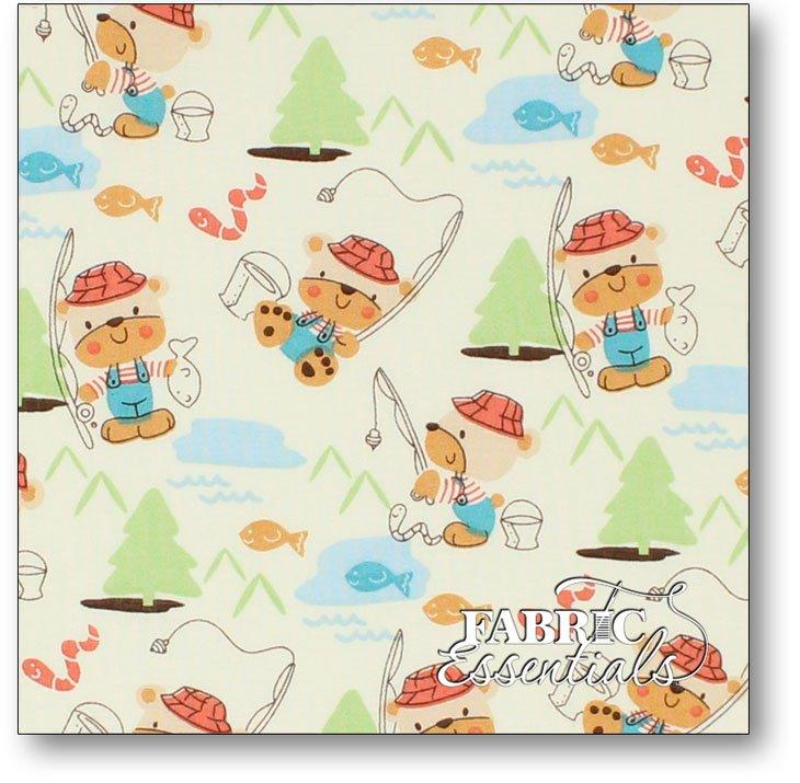 Choice Fabrics - Children's Novelty - BD-49218-A02 - Bears Fishing on Light Yellow