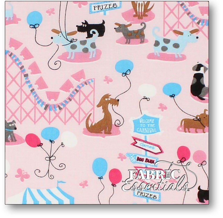 Choice Fabrics - Children's Novelty - BD-49219-A01 - Puppy Carnival on Pink