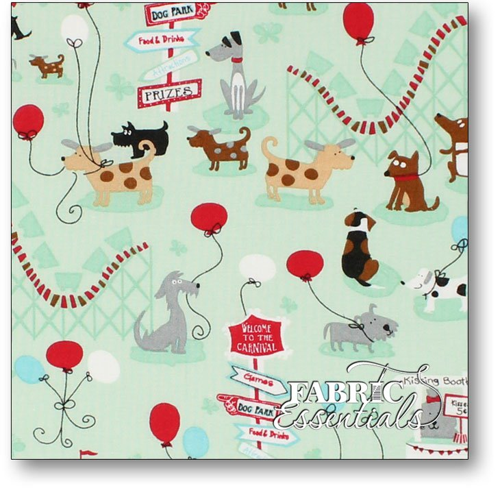 Choice Fabrics - Children's Novelty - BD-49219-A02 - Puppy Carnival on Mint
