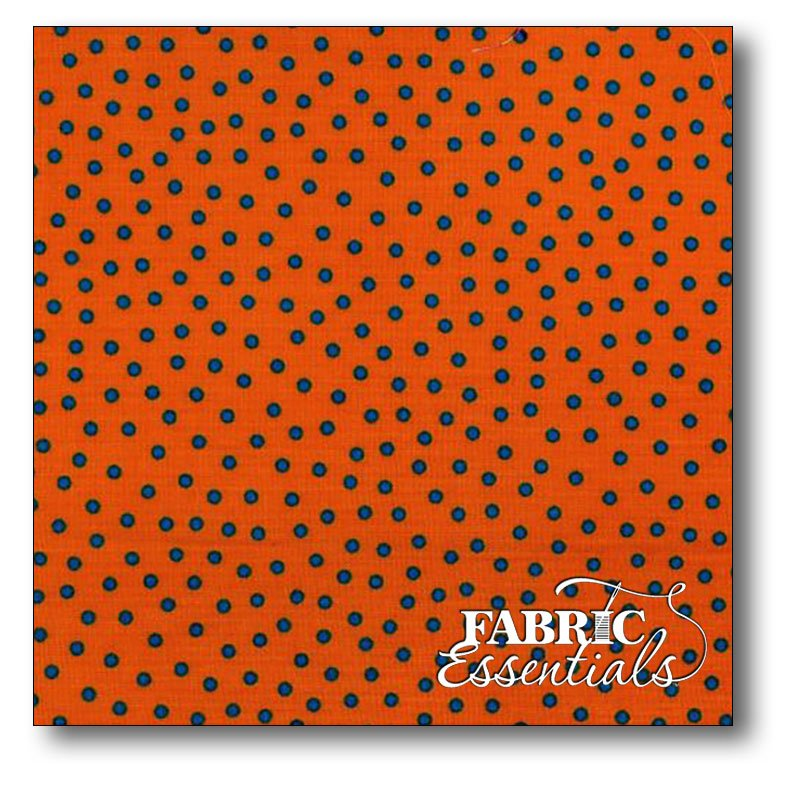 Choice Fabrics - Gallery - Basically Yours - CD-17769-004 Orange with Blue Dots