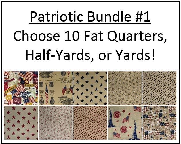 Bundle #1 ~ Patriotic ~ 10 Tan Red & Blue Fabrics!