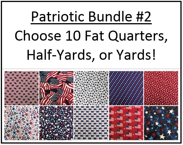 Bundle #2 ~  Patriotic ~ 10 Red White & Blue Fabrics!