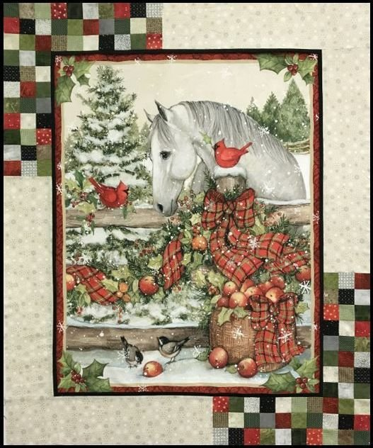 Christmas Horse Bow PANEL Quilt KIT + Backing & TWO BONUS PIllows!