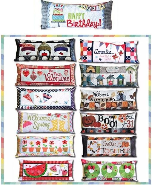 KimberBell Bench Pillow of the Month COMPLETE Set of 13 Applique Quilt Patterns