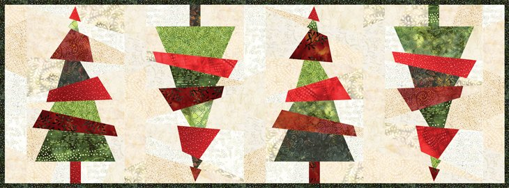 Crazy Christmas Trees Table Runner KIT ~ Includes Backing!