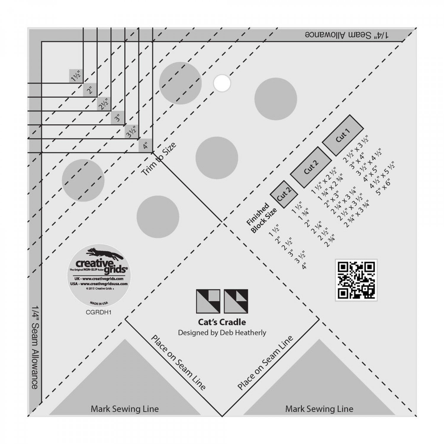Creative Grids - Cat's Cradle Tool Quilt Ruler - CGRDH1
