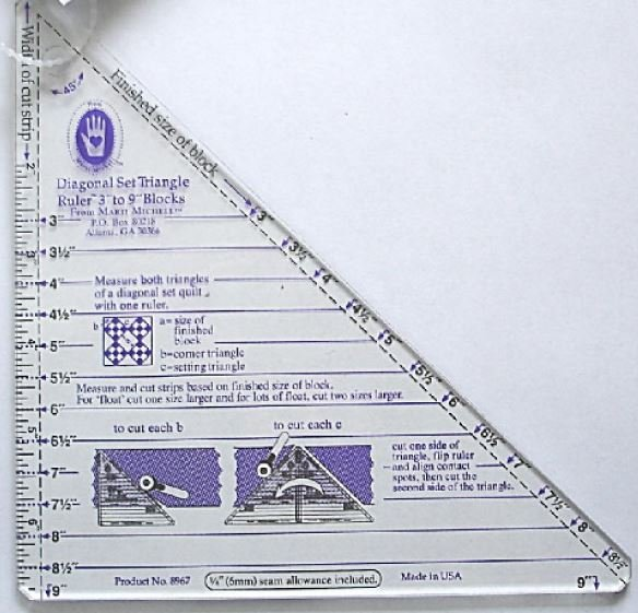 Marti Michell - Diagonal Set Triangle Ruler 3in to 9in - MM8967