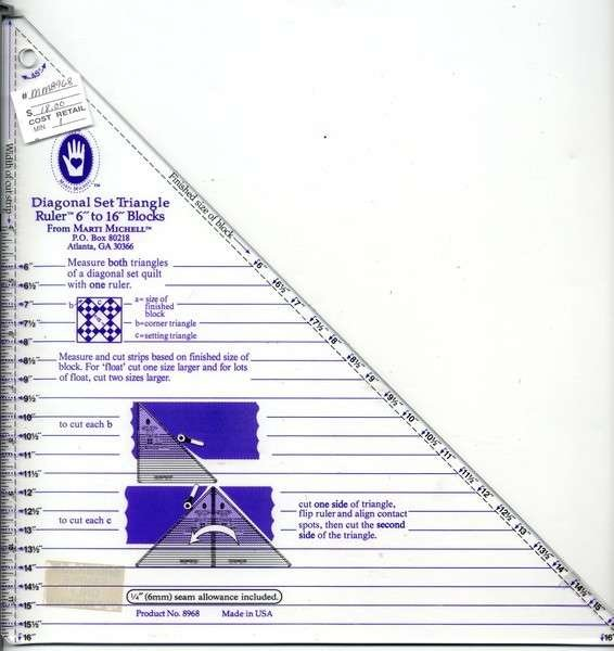 Marti Michell - Diagonal Set Triangle Ruler 6in to 16in - MM8968