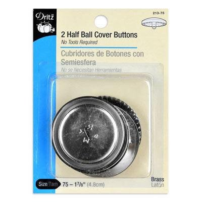 Dritz - Button Cover Half Ball 1 7/8in - 213-075 Brass (2 ct)