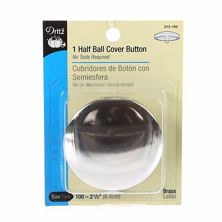 Dritz - Button Cover Half Ball 2 1/2in - 213-100 Brass (2 ct)