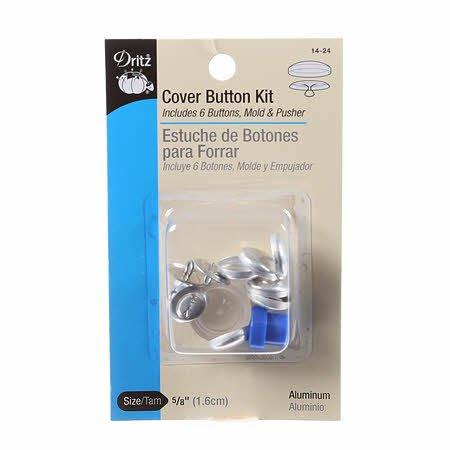 Dritz - Button Cover Kit - 5/8in (6 ct Plus Tool) 14-24 Aluminum