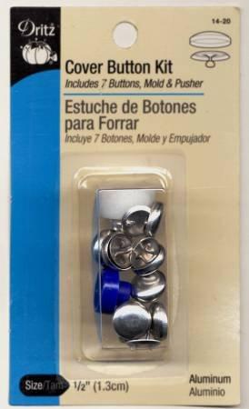 Dritz - Button Cover Kit - 1/2in (7 ct Plus Tool) - 14-20 Aluminum