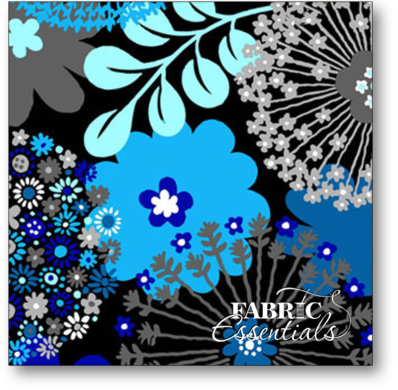 Exclusively Quilters - Sapphire - Large Floral - 3930-60042-20 Black