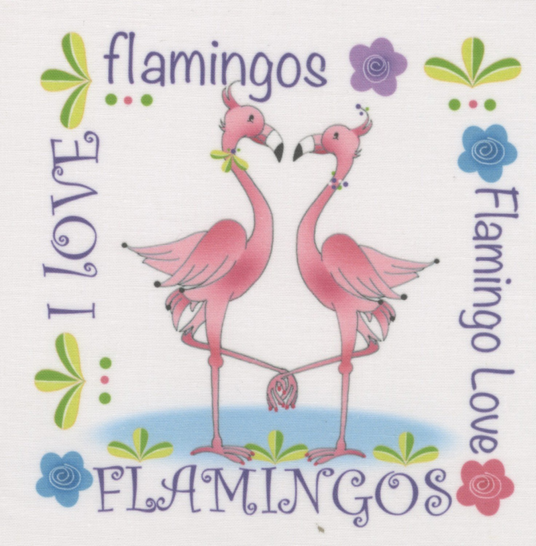 Jody Houghton - Fabric Art Panel - AP624 - Flamingos - 6in x 6in