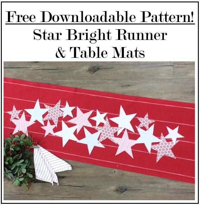FREE Downloadable Pattern! Star Bright Runner and Table Mats!