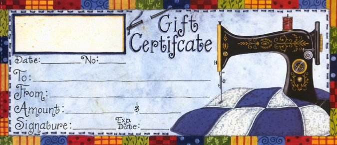 Fabric Essentals - Gift Certificate - Please call 785-243-4044 to Make Arrangements!