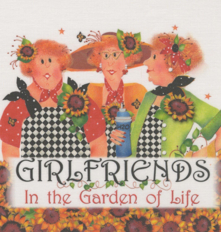 Jody Houghton - Fabric Art Panel - AP64 - Girlfriends In the Garden of Life - 6in x 6in