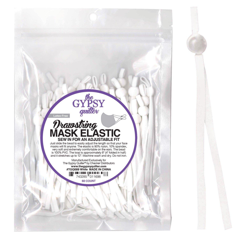Drawstring Mask Elastic - 60 Count - TGQ089 White