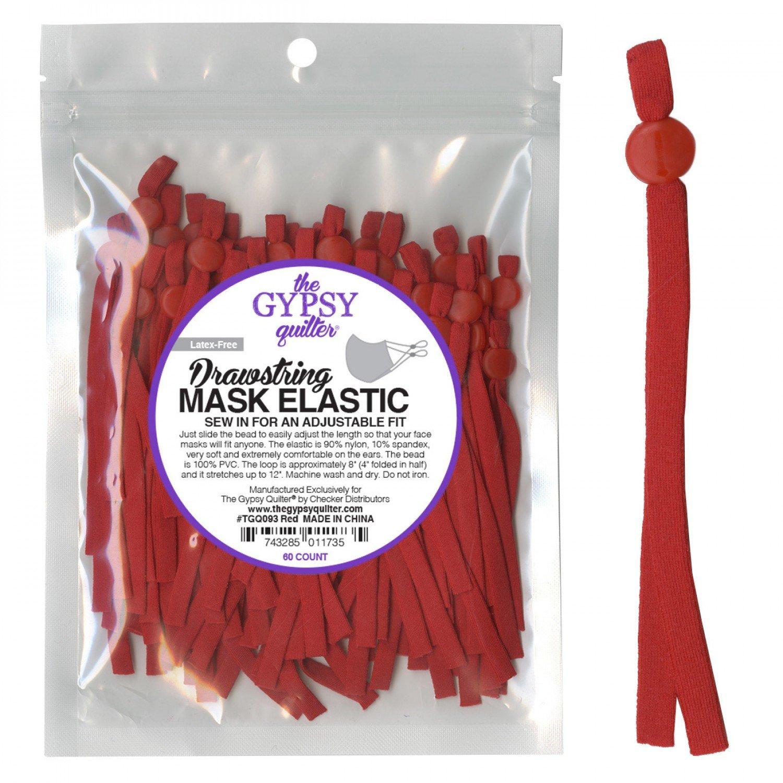 Drawstring Mask Elastic - 60 Count - TGQ093 Red