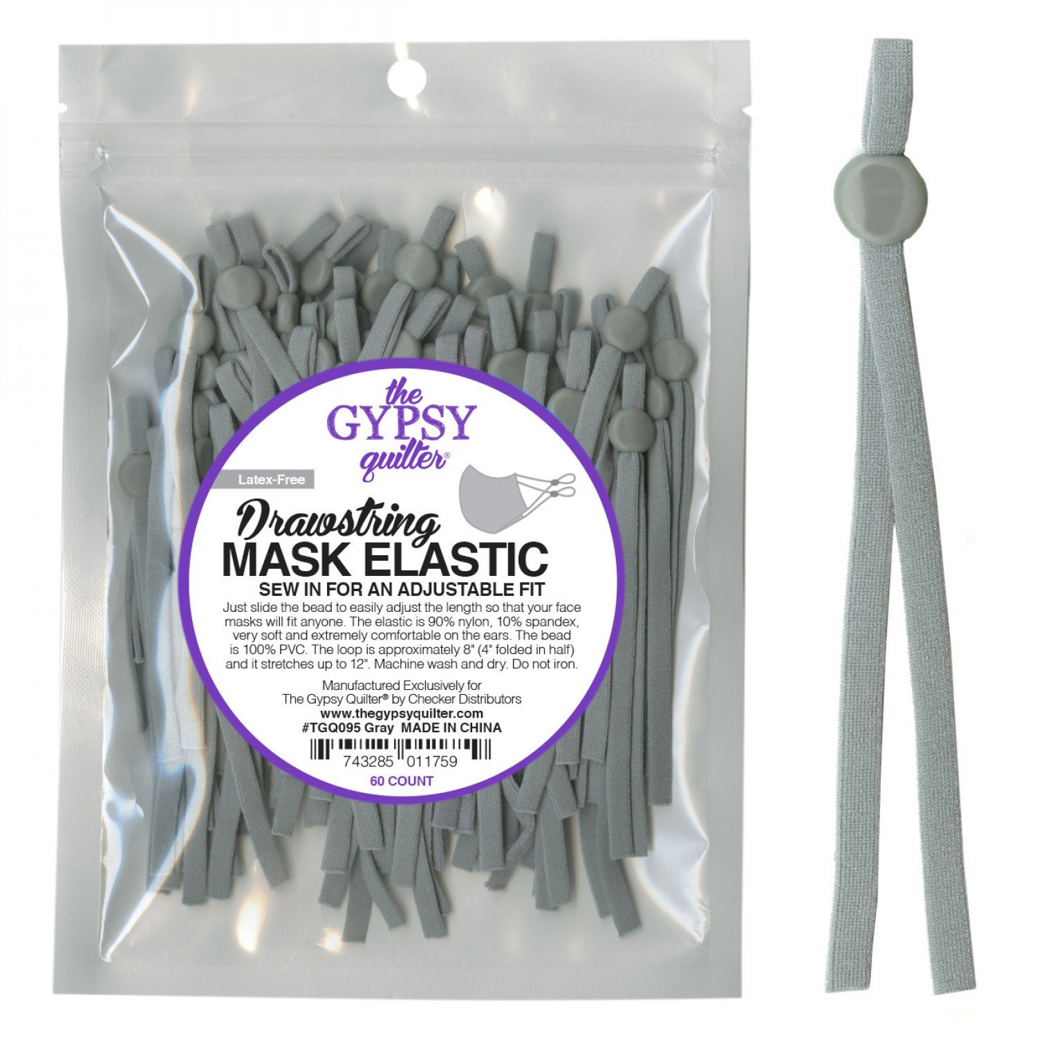 Drawstring Mask Elastic - 60 Count - TGQ095 Grey