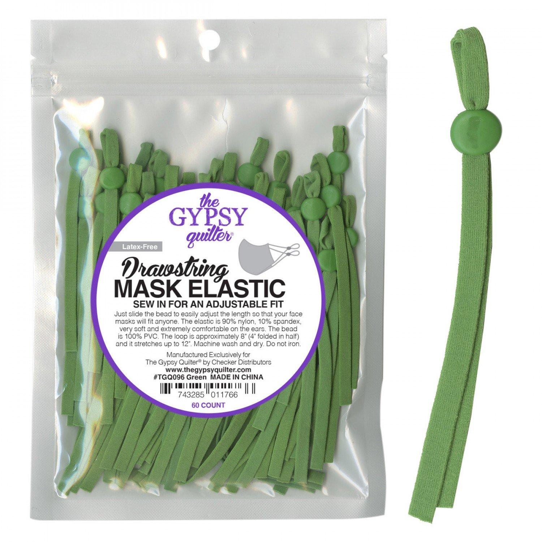 Drawstring Mask Elastic - 60 Count - TGQ096 Green