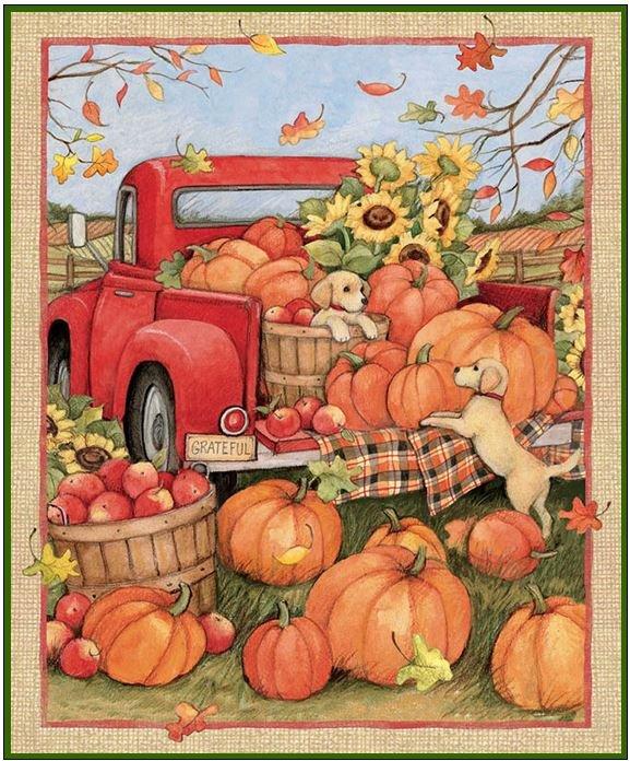 Susan Winget - Harvest Red Truck Pumpkins & Puppies Quilt KIT!
