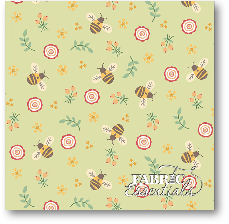 Henry Glass - Kim Diehl - Bumble Garden - 2-Ply FLANNEL - F1399-66 - Bumbles - Green