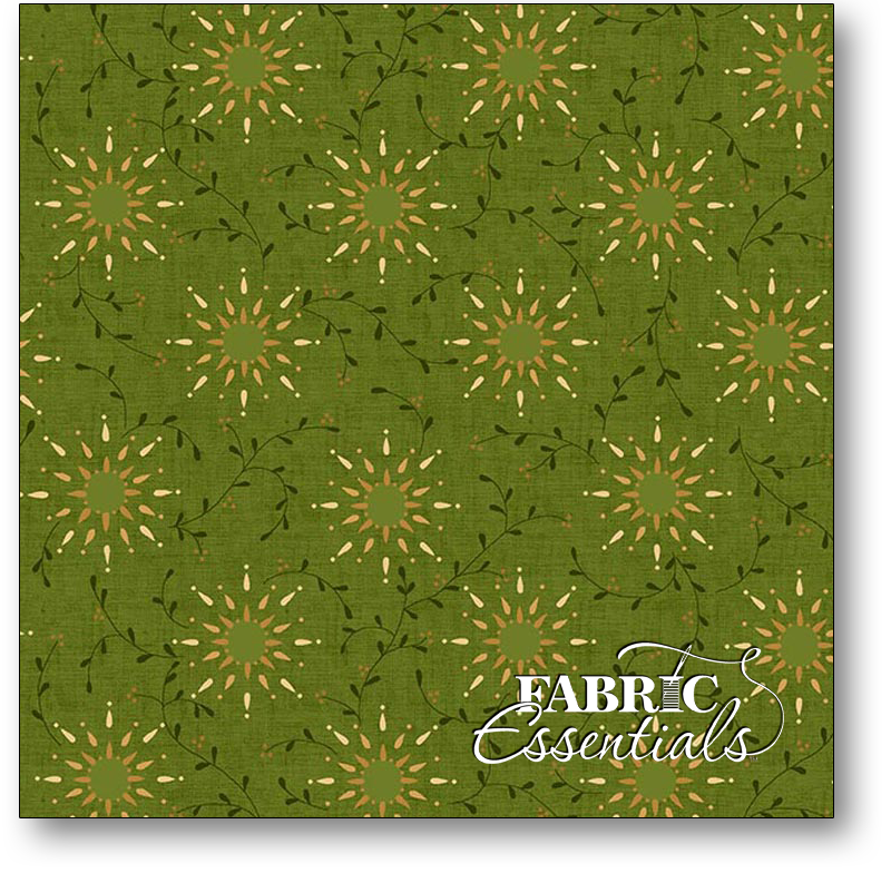 Henry Glass - Kim Diehl Collection - Prairie Vine - 108in Wide Backing - 6235-66 Green - BOLT END - 1yd 19in