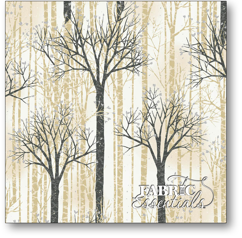 Hoffman - Baby It's Cold Outside - Holiday - Q7650-126S Birch Trees with Silver Metallic