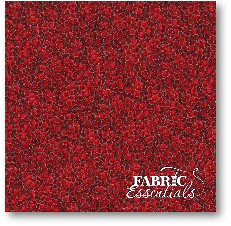 Hoffman - Cardinal Carols - G8556-5S Red Berries with Silver Metallic