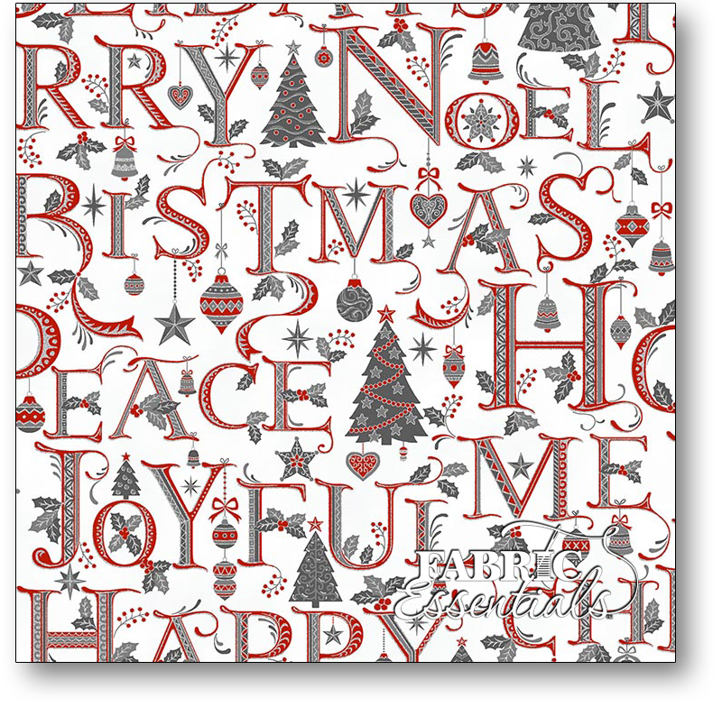 Hoffman - Holiday Decadence - Ice Holiday Words with Metallic - S7705-176S Red Gray and Silver on White