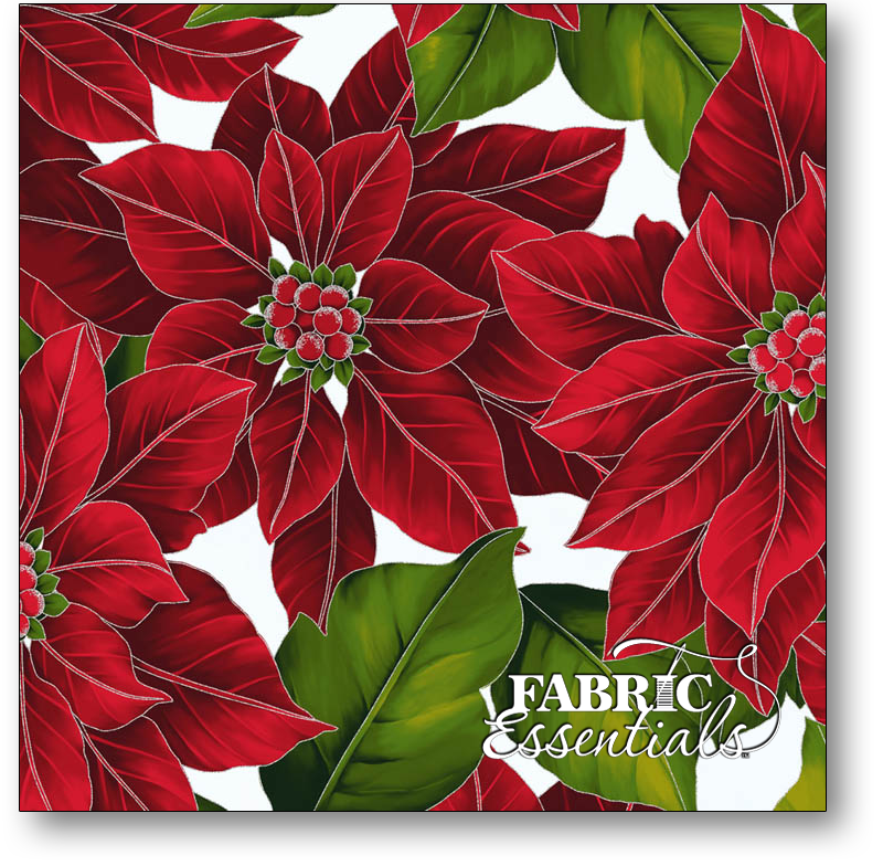 Hoffman - The Poinsettia Song - Q7634-113S Frost Poinsettia with Silver Metallic