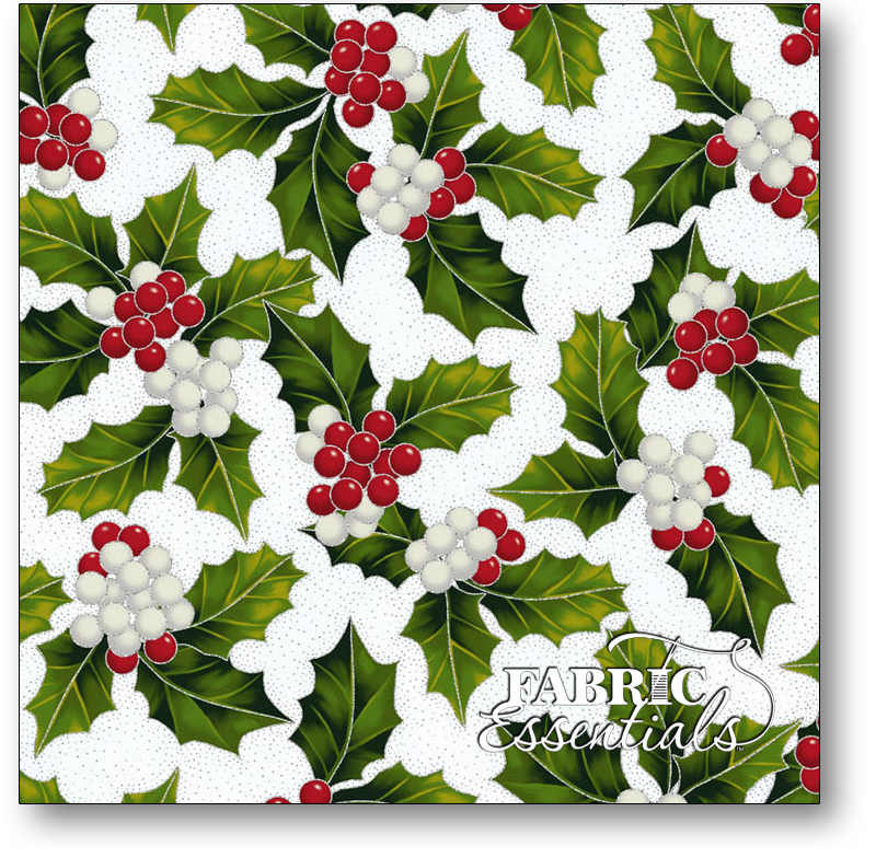 Hoffman - The Poinsettia Song - Q7638-113S Frost Holly with Silver Metallic