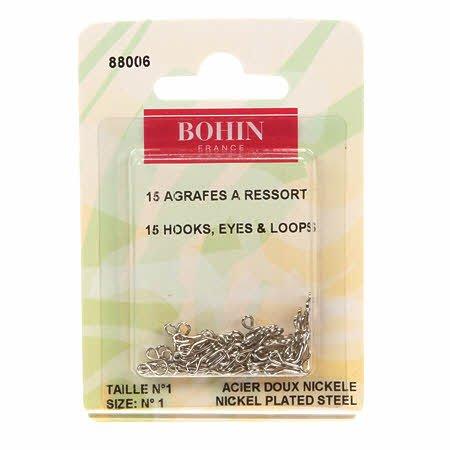 Bohin - Hook Eyes & Loops Nickel Size 1 - 88006 Silver
