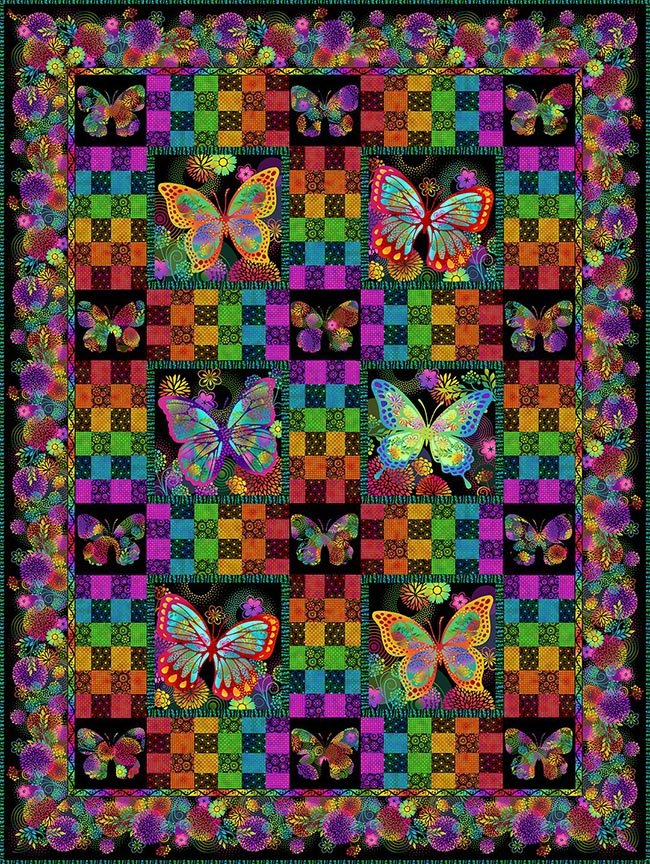 In The Beginning - Unusual Garden II - Butterfly Quilt Kit - BLACK - More Coming!