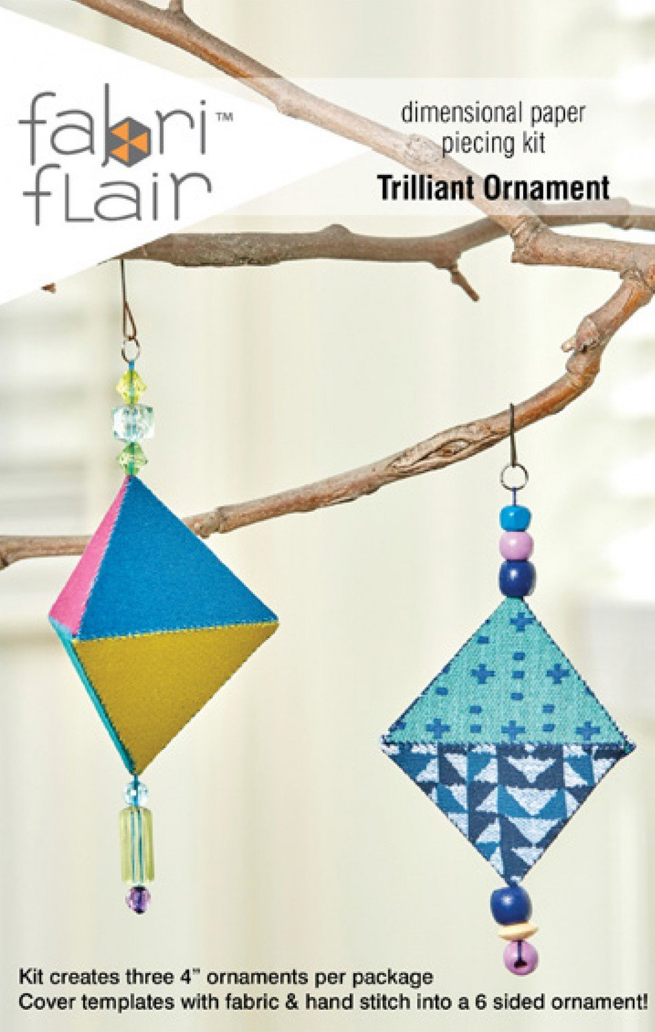 Indygo Junction - FabriFlair - Trilliant Ornament - KIT - Templates for 3 Ornaments - IJFF105