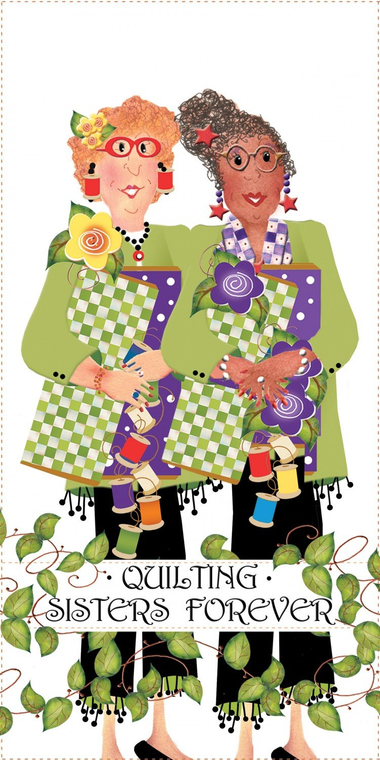Jody Houghton - Fabric Art Panel - JHD6-12QSHC - Quilting Sisters Forever - Hope and Charity - 6in x 12in