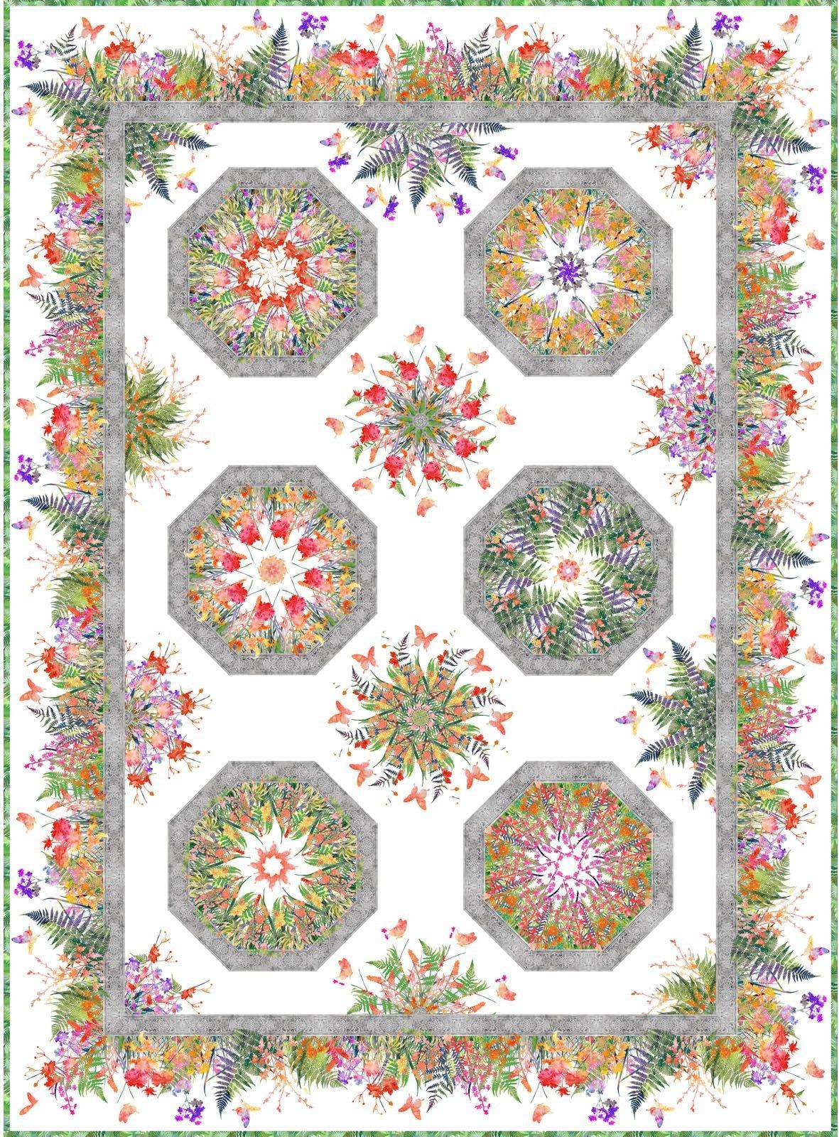In The Beginning - Garden of Dreams by Jason Yenter - One Fabric Kaleidoscope Quilt KIT!