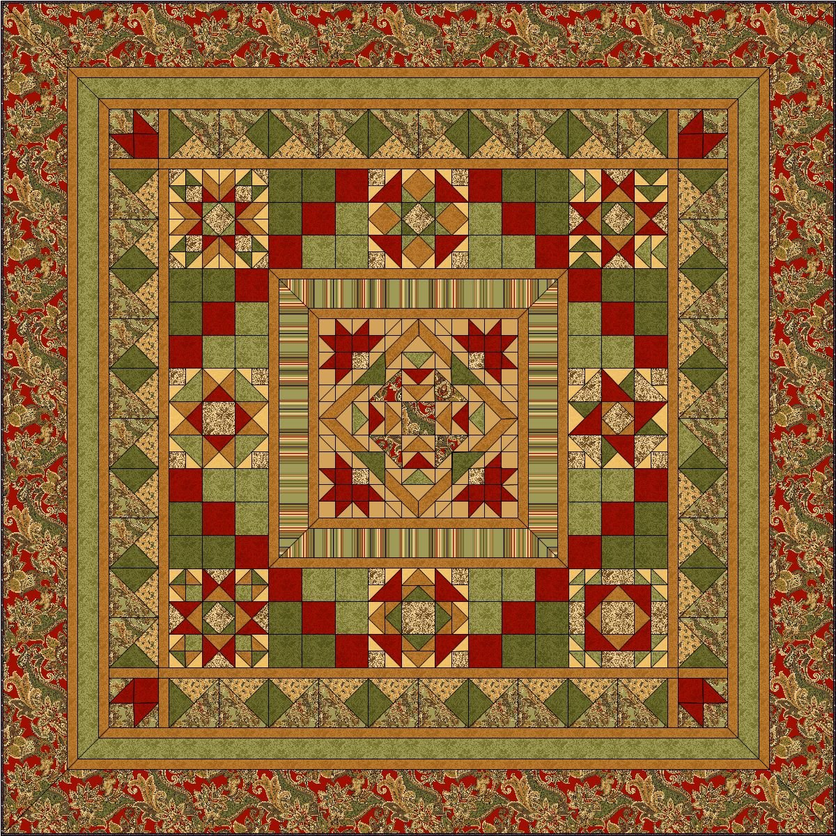 Lauren BOM Quilt - Two Sizes & Two Centers - TWO FREE MONTHS!