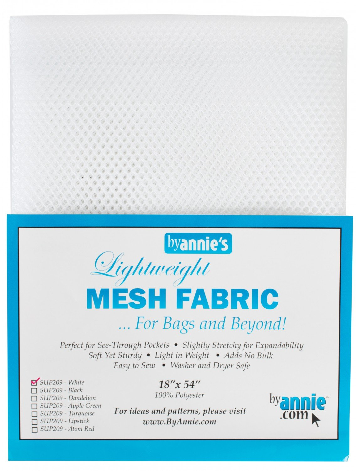 Lightweight Mesh Fabric - White - 18x54in - SUP209-WH