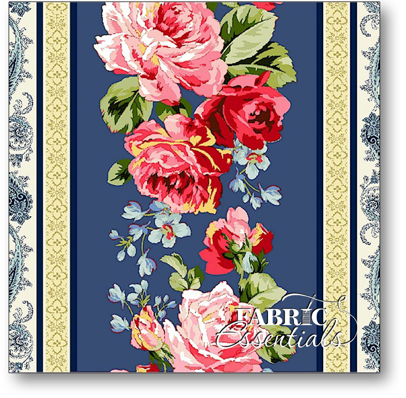 Marcus - American Bouquet - R37-5203-0150 Border Print Blue - 5 Repeats - BUY THE BOLT - 1YD 22IN